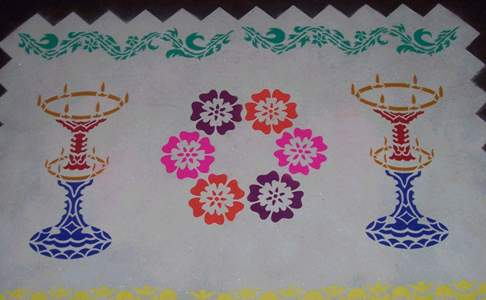 designs patterns to draw. During Diwali, Hindus draw