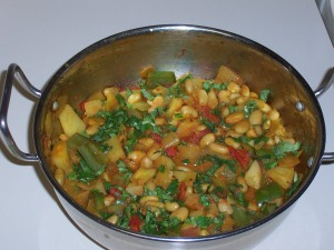 White Beans, Capsicum and Potato Palya